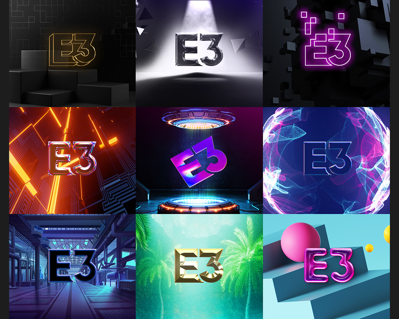 Grid of E3 2021 logos in various styles