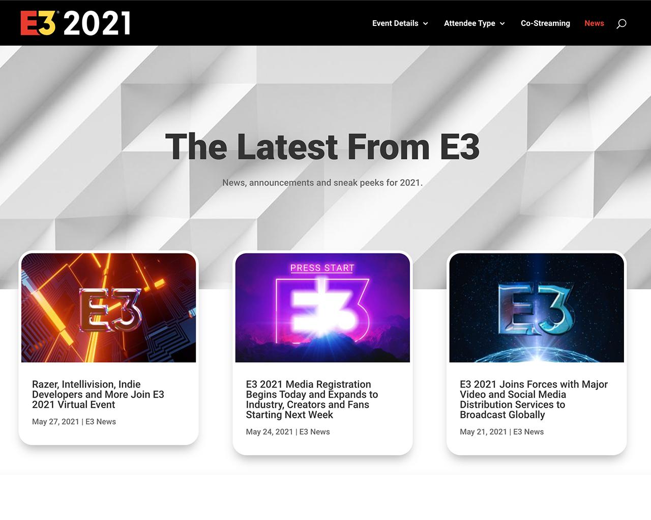 E3 2021 website news page