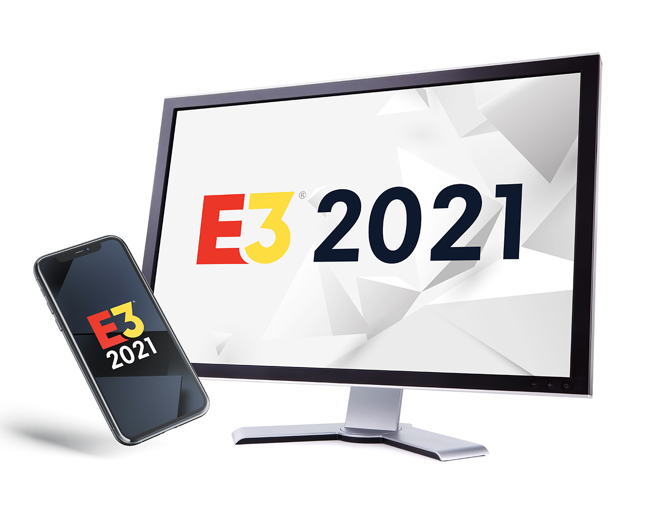 Phone and monitor screens with the E3 2021 logos