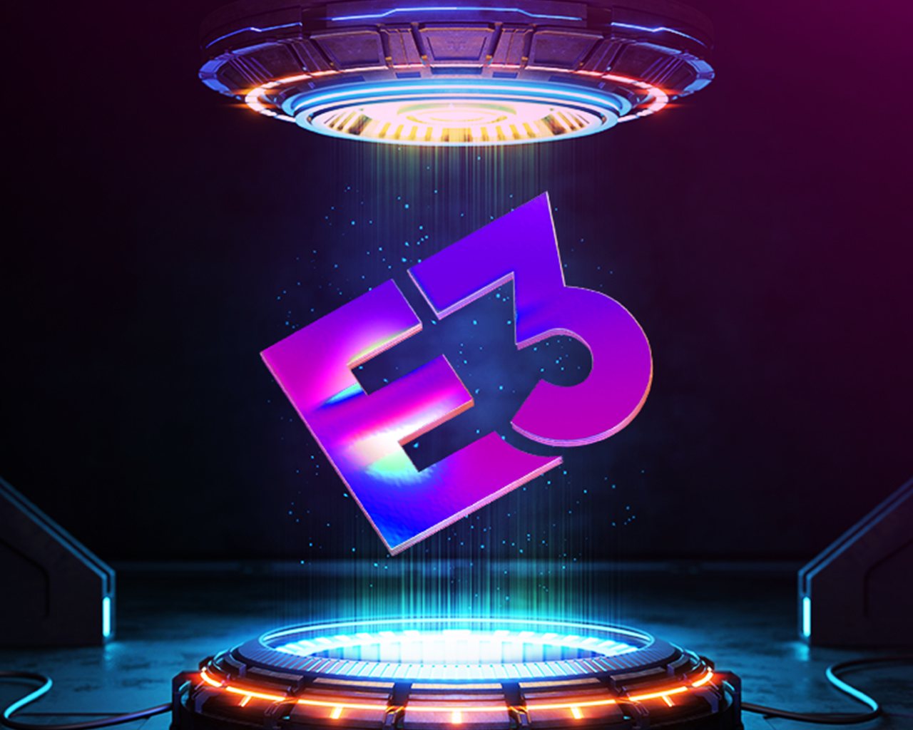 Angled E3 logo being transported through a science-fiction inspired portal