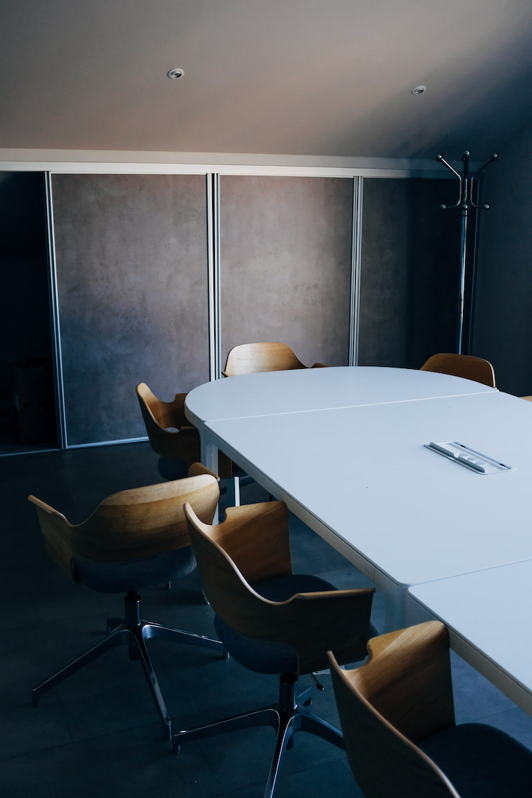 A boardroom setting.