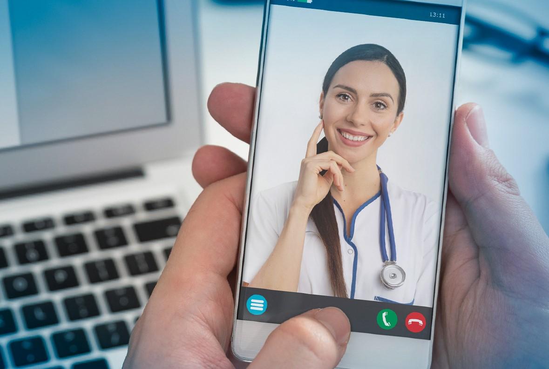 a telemedicine doctor on a smartphone