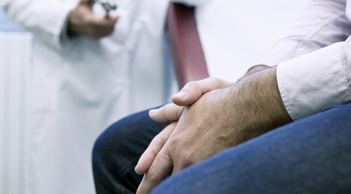 a man suffering from erectile dysfunction - at the doctor's
