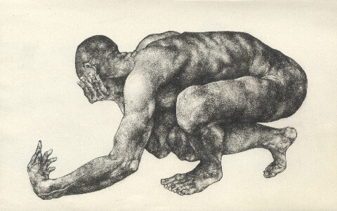 Male nude graphite study by Pseudonym founder Zheqiang (Jacques) ZHANG.