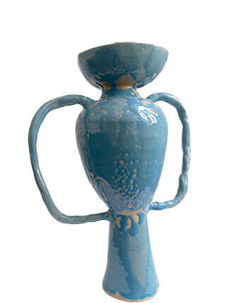 Glazed stoneware vase with oversized handles in baby blue, Pseudonym Objects for Everyday Living.