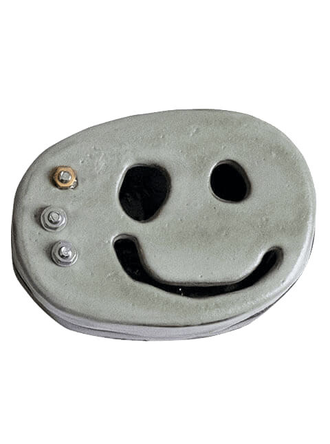 Glazed stoneware smiley face container with metal hardware, Pseudonym Objects for Everyday Living.