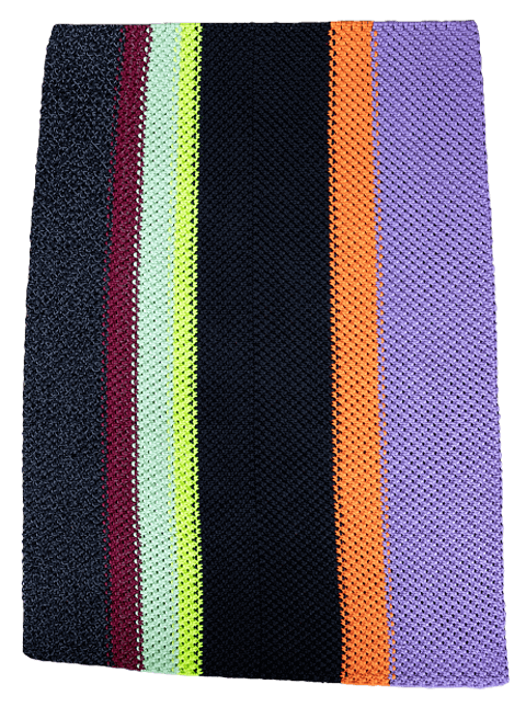 Macramé rug with black reflective, burgundy, mint, glow-in-the-dark, black, orange, and lilac banded colors; Pseudonym Objects for Everyday Living.