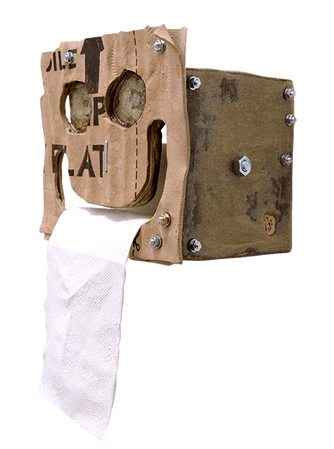 Glazed stoneware toilet paper holder with corrugated cardboard detail and metal hardware, Pseudonym Objects for Everyday Living.