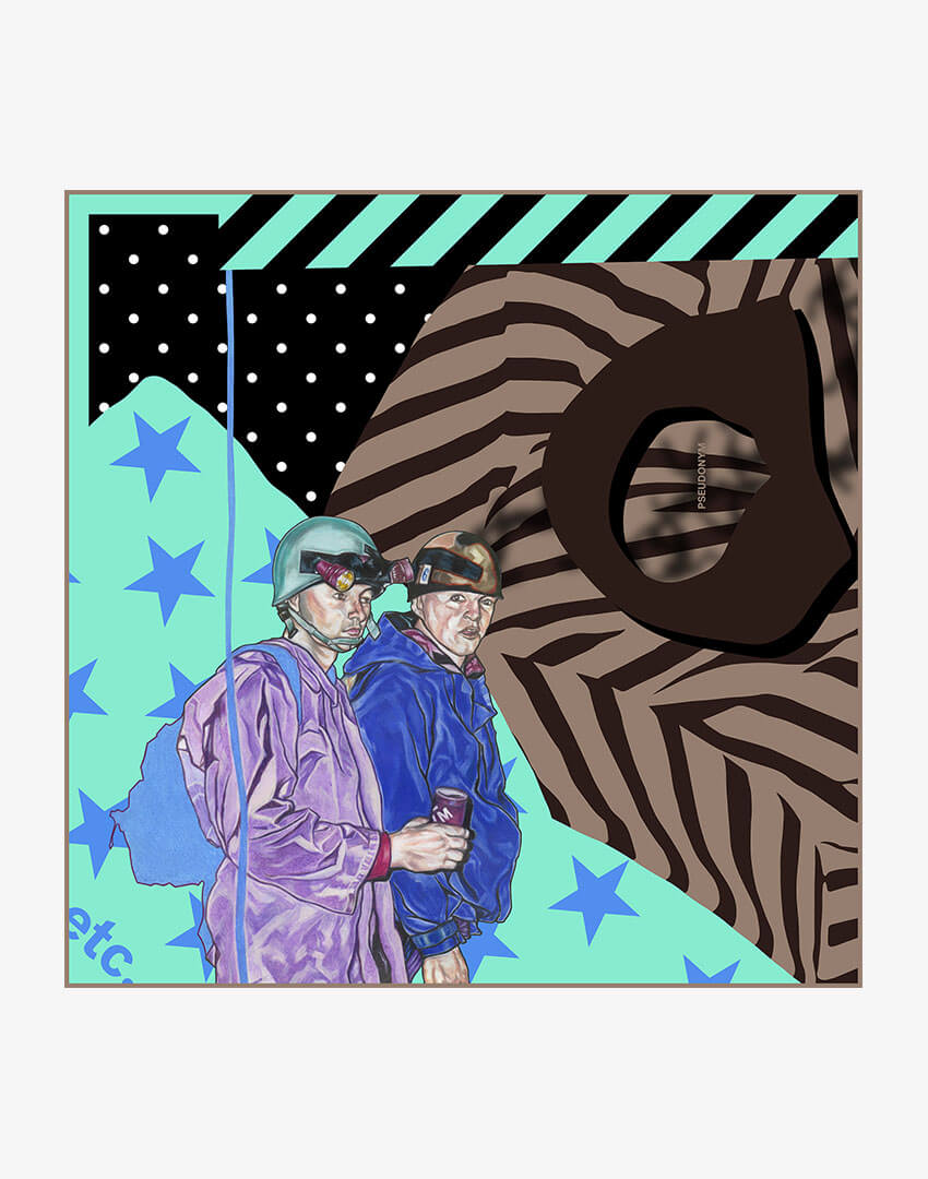 """P.S. Scarf (80cm), """"Ice Cream People"""" colorway, featuring hand-drawn mountain climbers and stars and stripes pattern."""