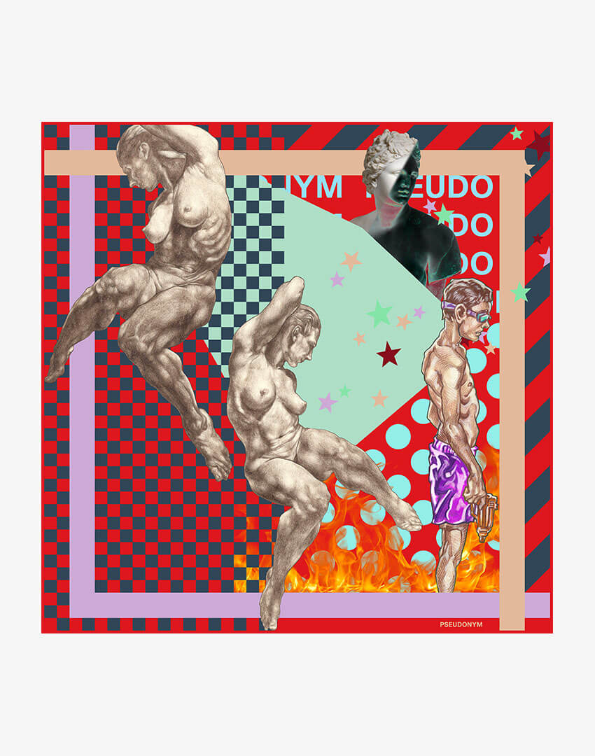 """P.S. Scarf (42cm), """"4321"""" colorway, featuring hand-drawn female nudes and checkered/flame pattern."""