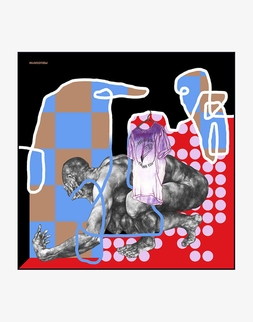 """P.S. Scarf (42cm), """"Sitting by a Puddle in Broad Daylight"""" colorway, featuring hand-drawn male nude and checkered pattern."""