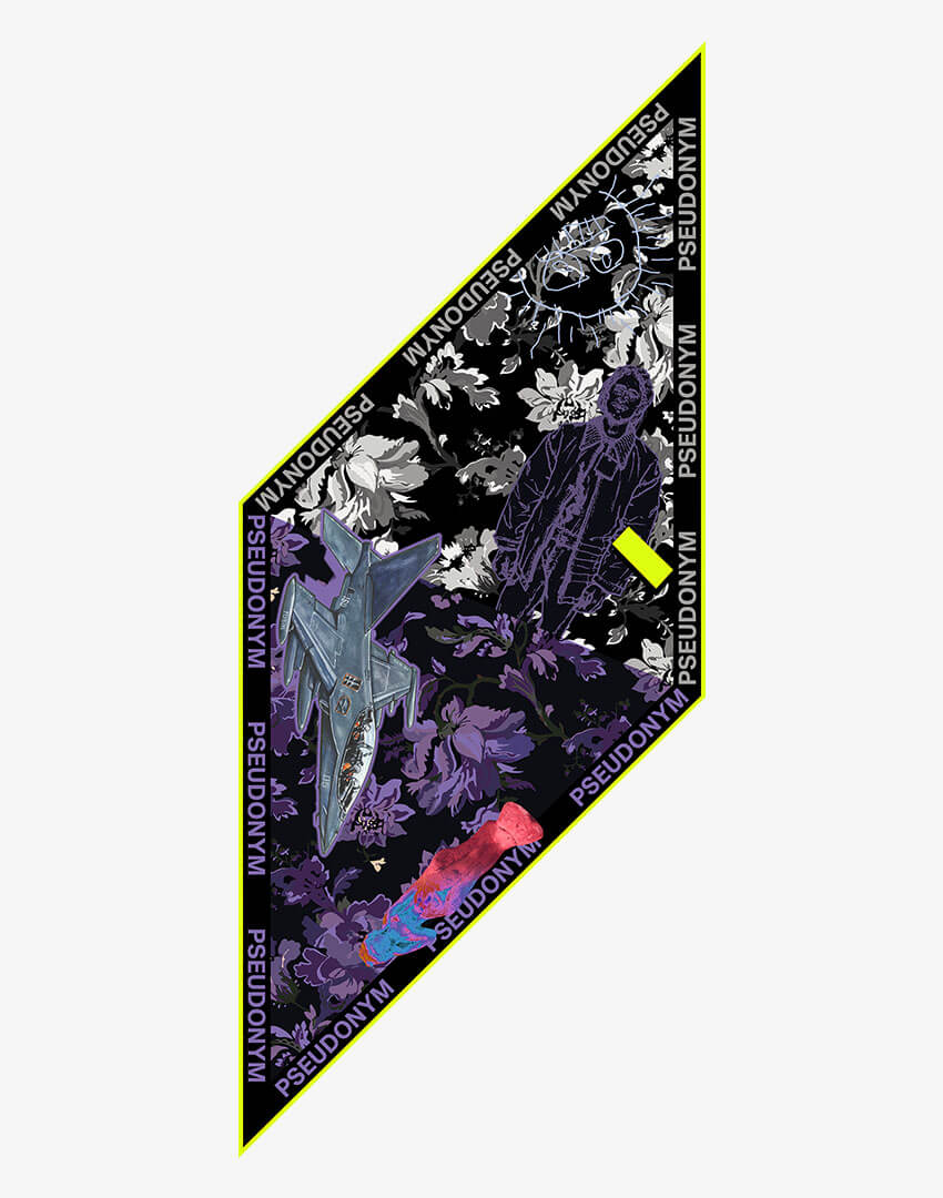 """P.S. Scarf (Lozenge), """"November, 2018"""" colorway, featuring hand-drawn fighter jet and floral pattern."""