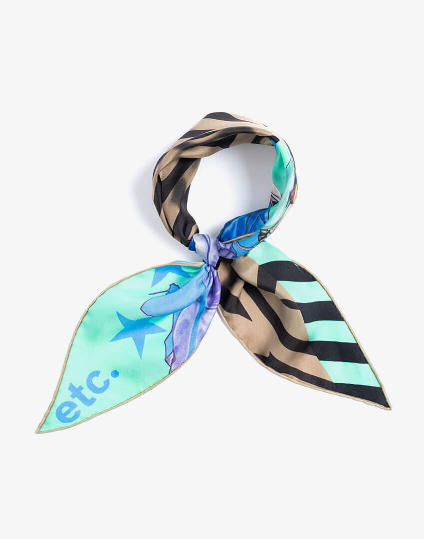 """P.S. Scarf (Lozenge), """"Ice Cream People"""" colorway, featuring hand-drawn mountain climbers and stars and stripes pattern."""
