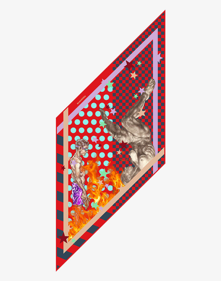 """P.S. Scarf (Lozenge), """"4321"""" colorway, featuring hand-drawn female nudes and checkered/flame pattern."""