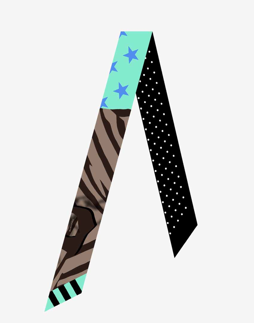 """P.S. Scarf (Tie), """"Ice Cream People"""" colorway, featuring hand-drawn mountain climbers and stars and stripes pattern."""