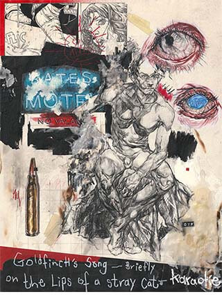 """Mixed media, """"The Thinker"""" artwork featuring male nude by Pseudonym founder Zheqiang (Jacques) ZHANG."""