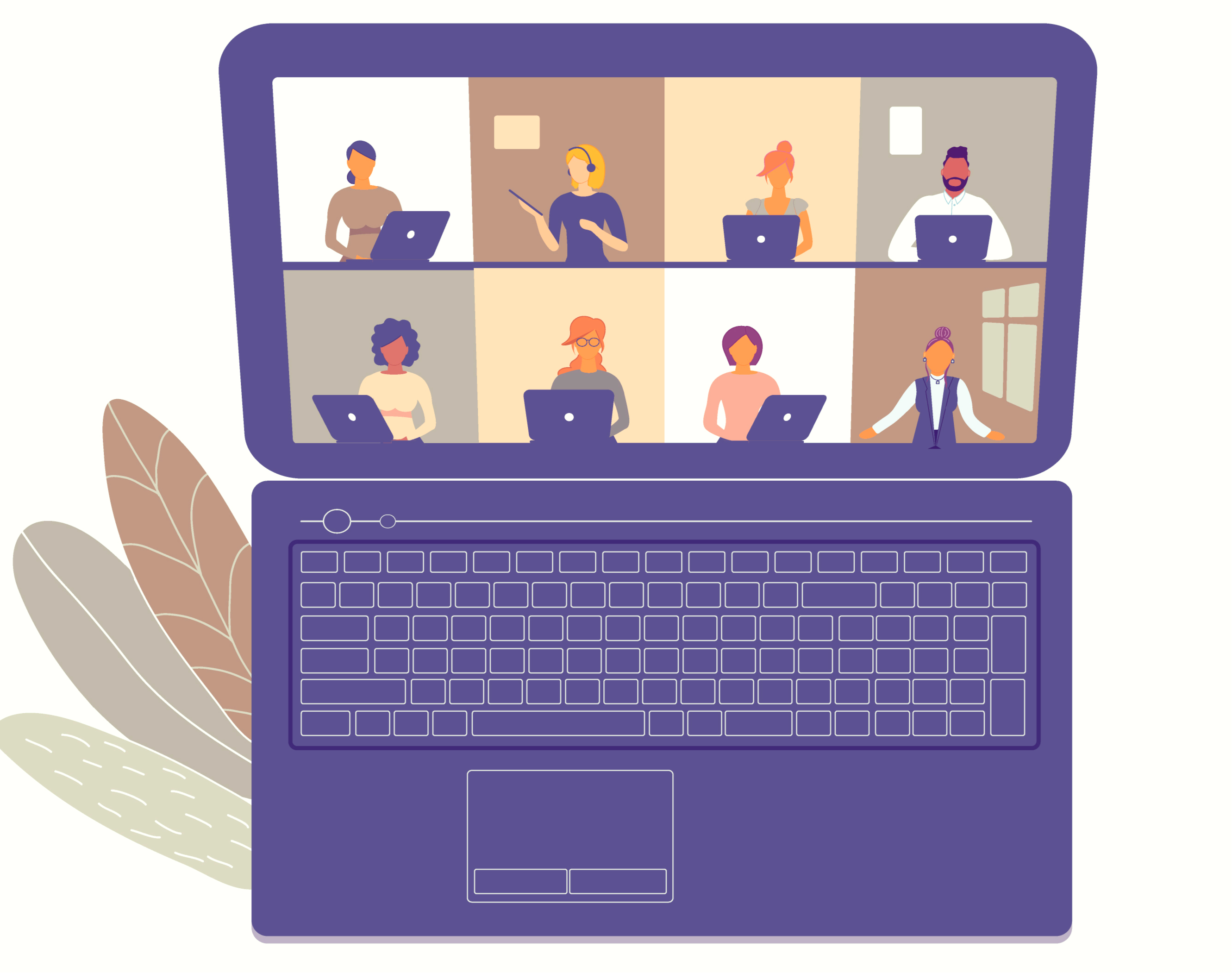 computer image with lots of people in a virtual meeting