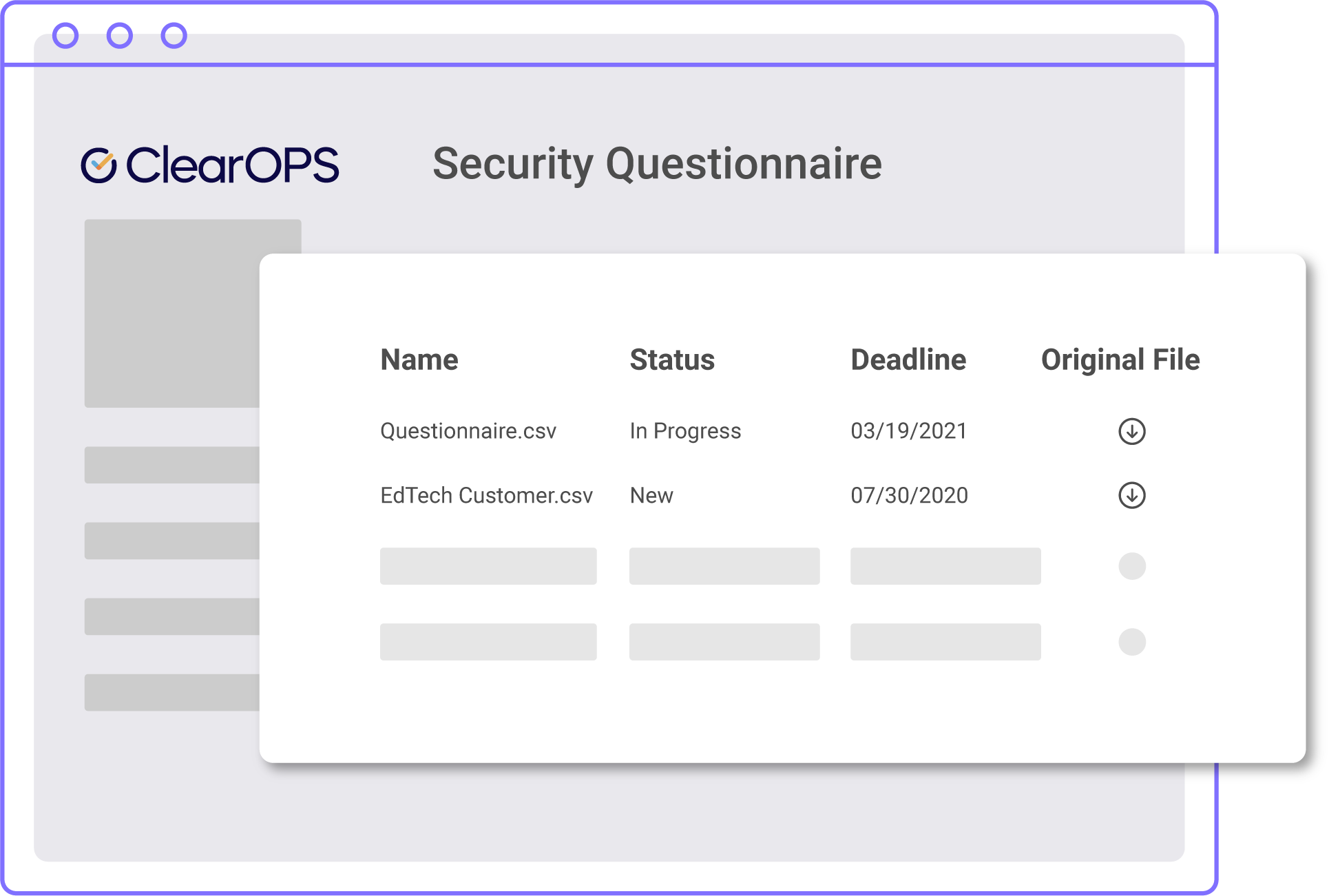 A picture of the ClearOPS system for answering security questionnaires.