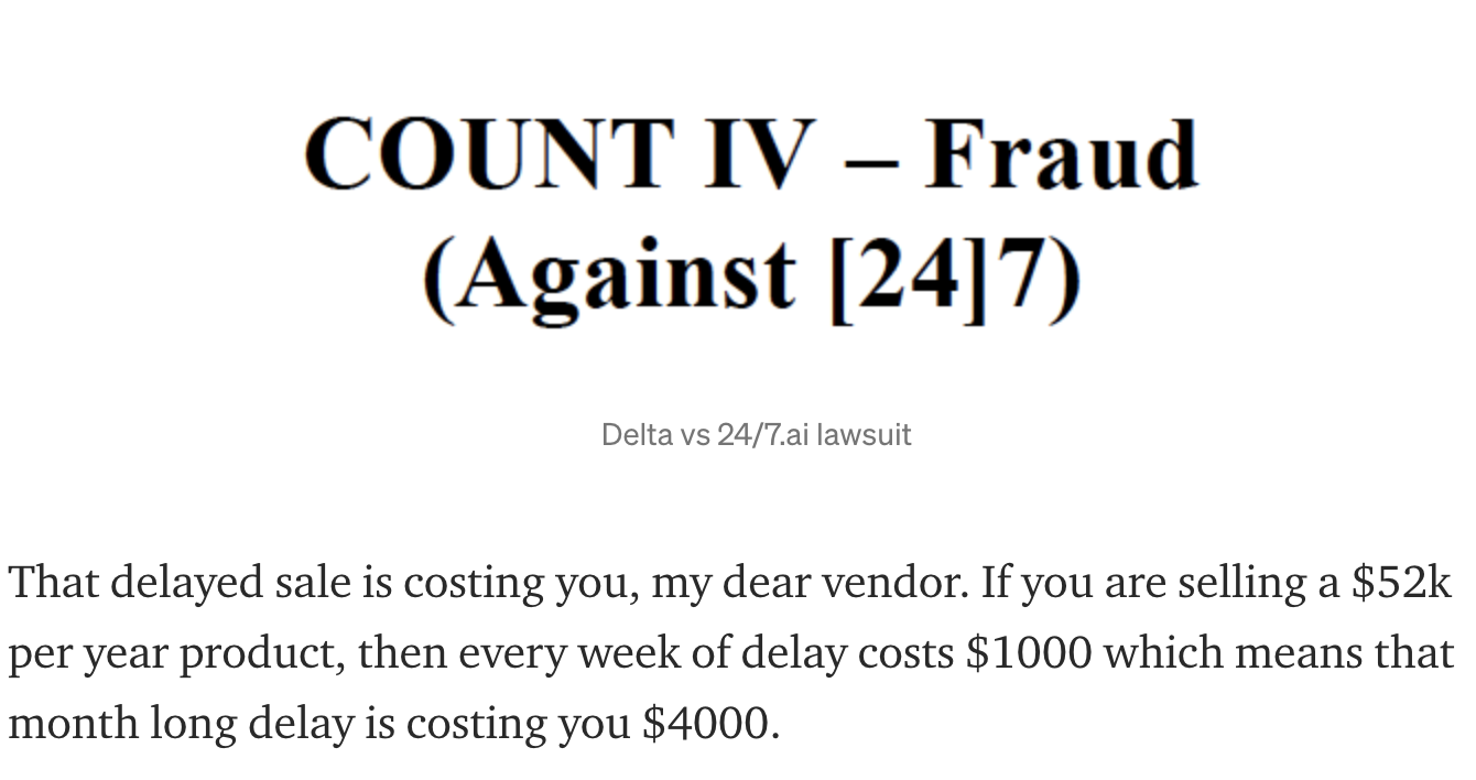 Display of a count of fraud from a lawsuit and text
