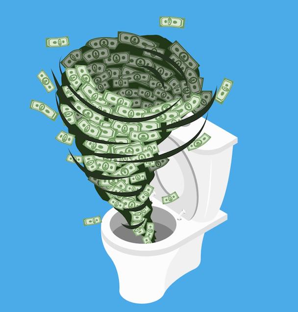 Money in the toilet