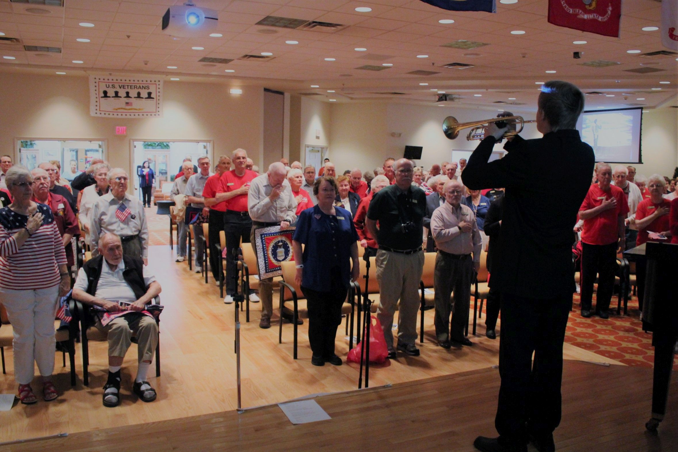 Residents packed the auditorium at Royal Oaks to salute our veterans