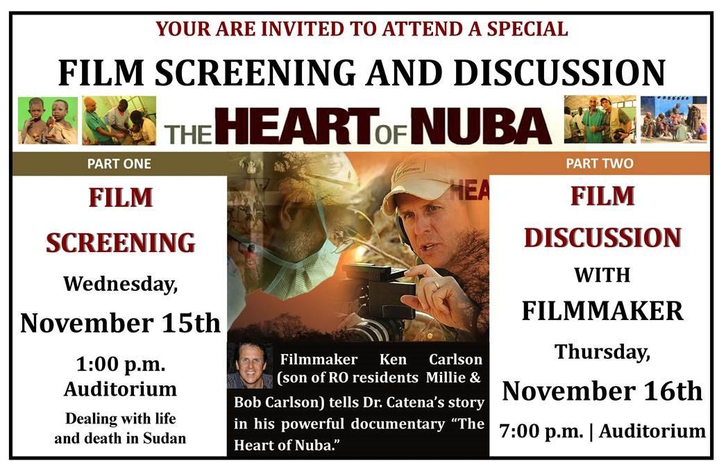 "Royal Oaks chosen to screen ""The Heart of Nuba"""