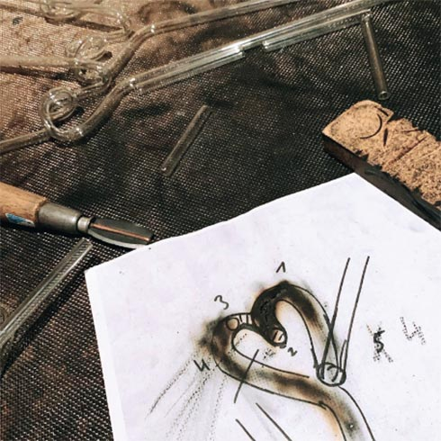 Skizze eines Glastrinkhalms