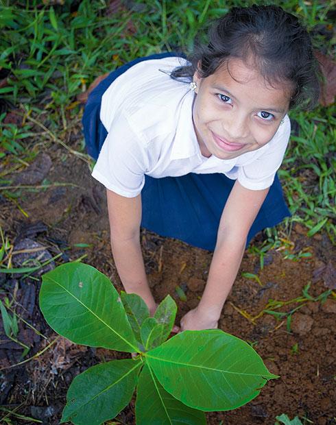 Mädchen mit Pflanze