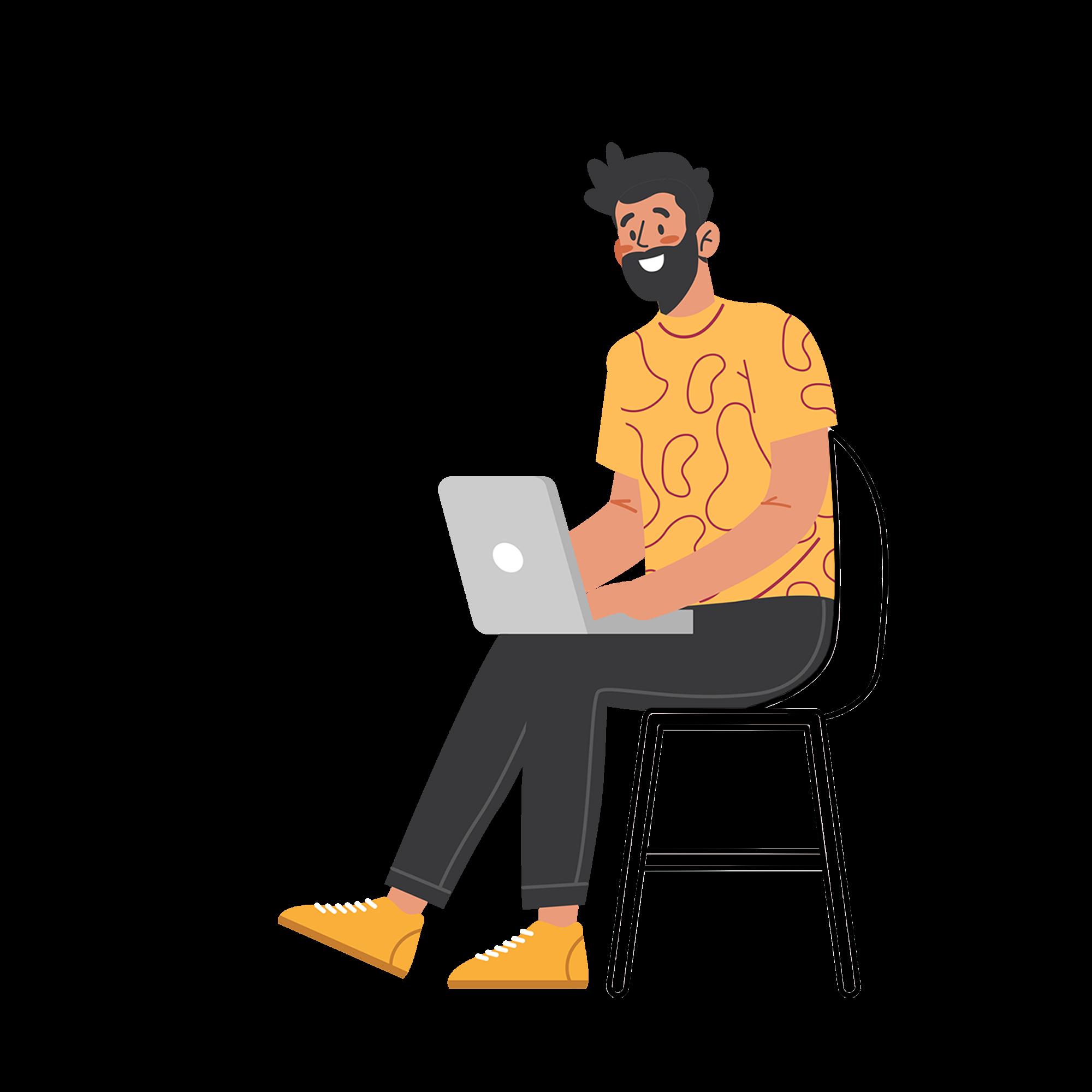 Illustration de la section Contact - Un homme assis sur une chaise qui discute via son ordinateur portable