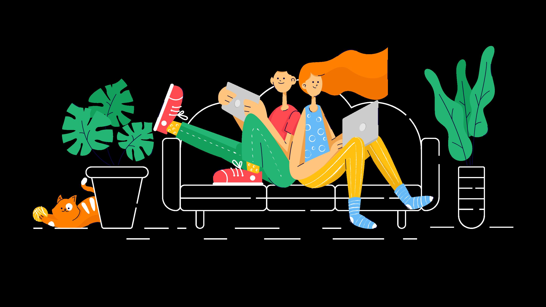 Illustration de la page d'accueil - 2 personnes assises sur un canapé avec une tablette numérique à la main
