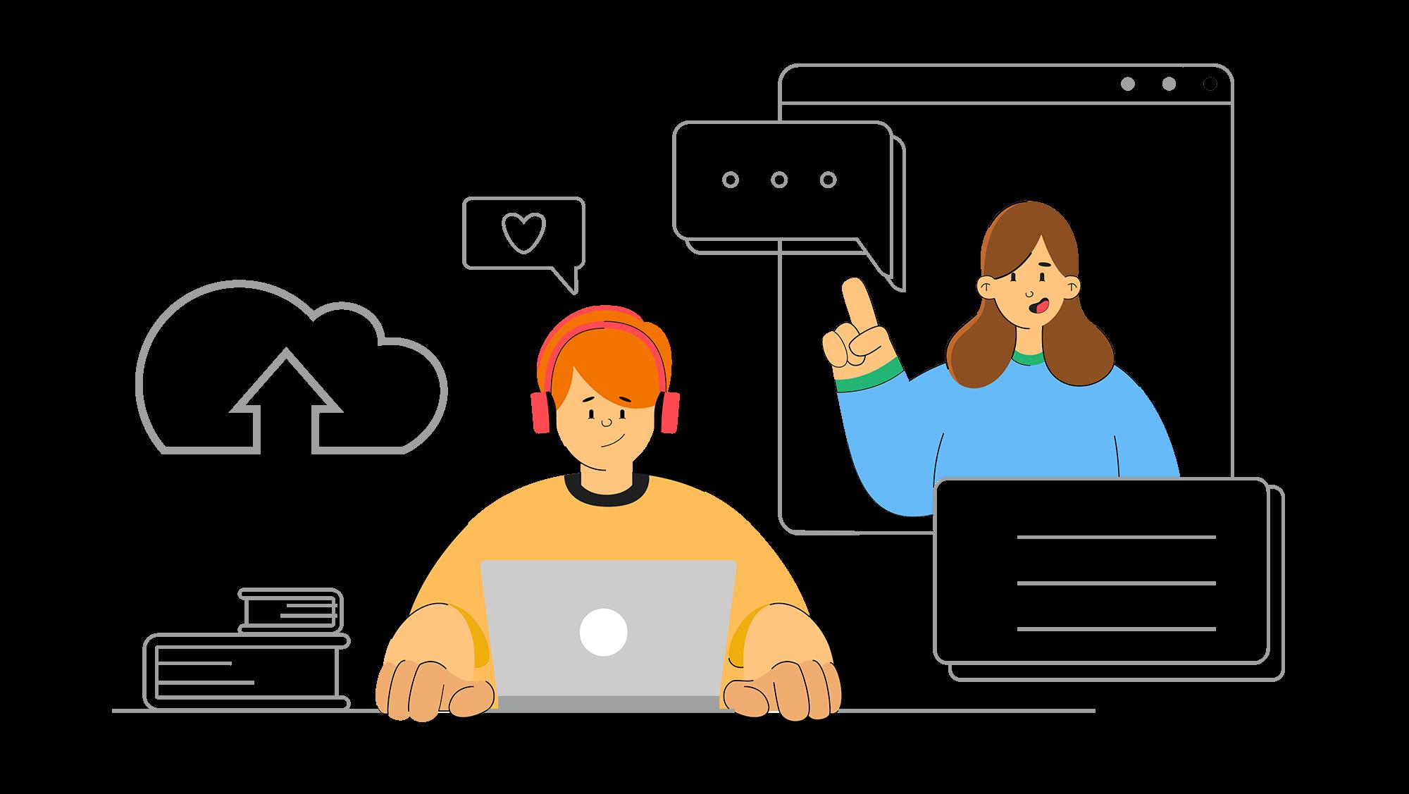 Illustration de la section Cours en face à face à distance - deux personnes qui communiquent via un ordinateur portable
