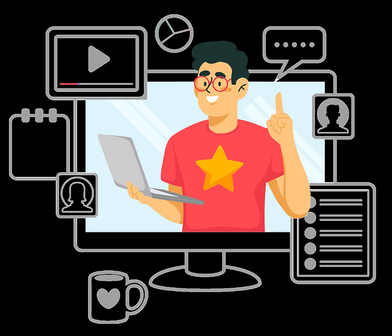 """Illustration du paragraphe """"Une pédagogie innovante"""" - un homme dans un ordinateur."""