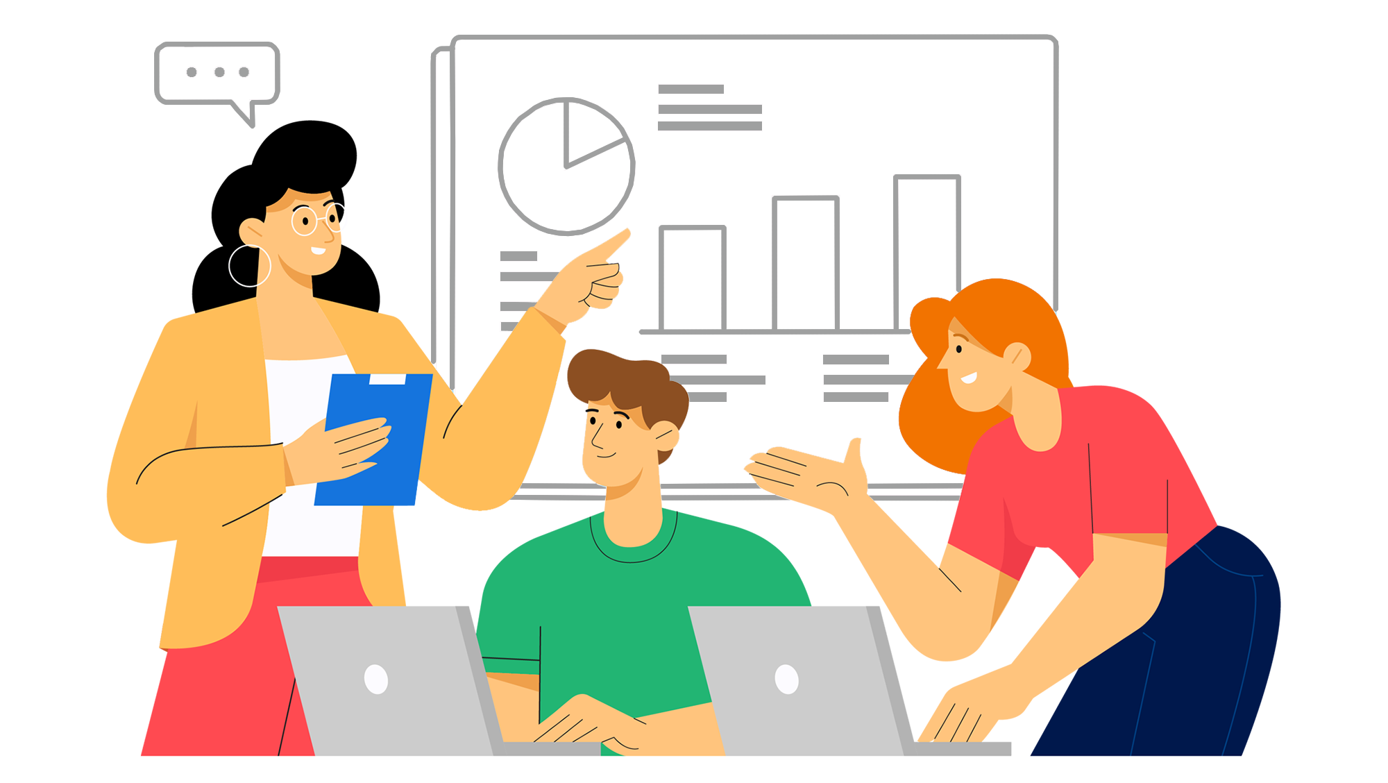 Illustration de la section excel - 3 personnes discutant autour d'un graphique