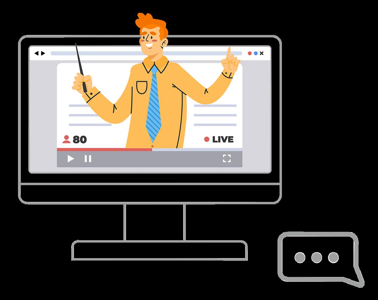Illustration de la section PowerPoint - un homme qui fait une présentation live sur un ordinateur