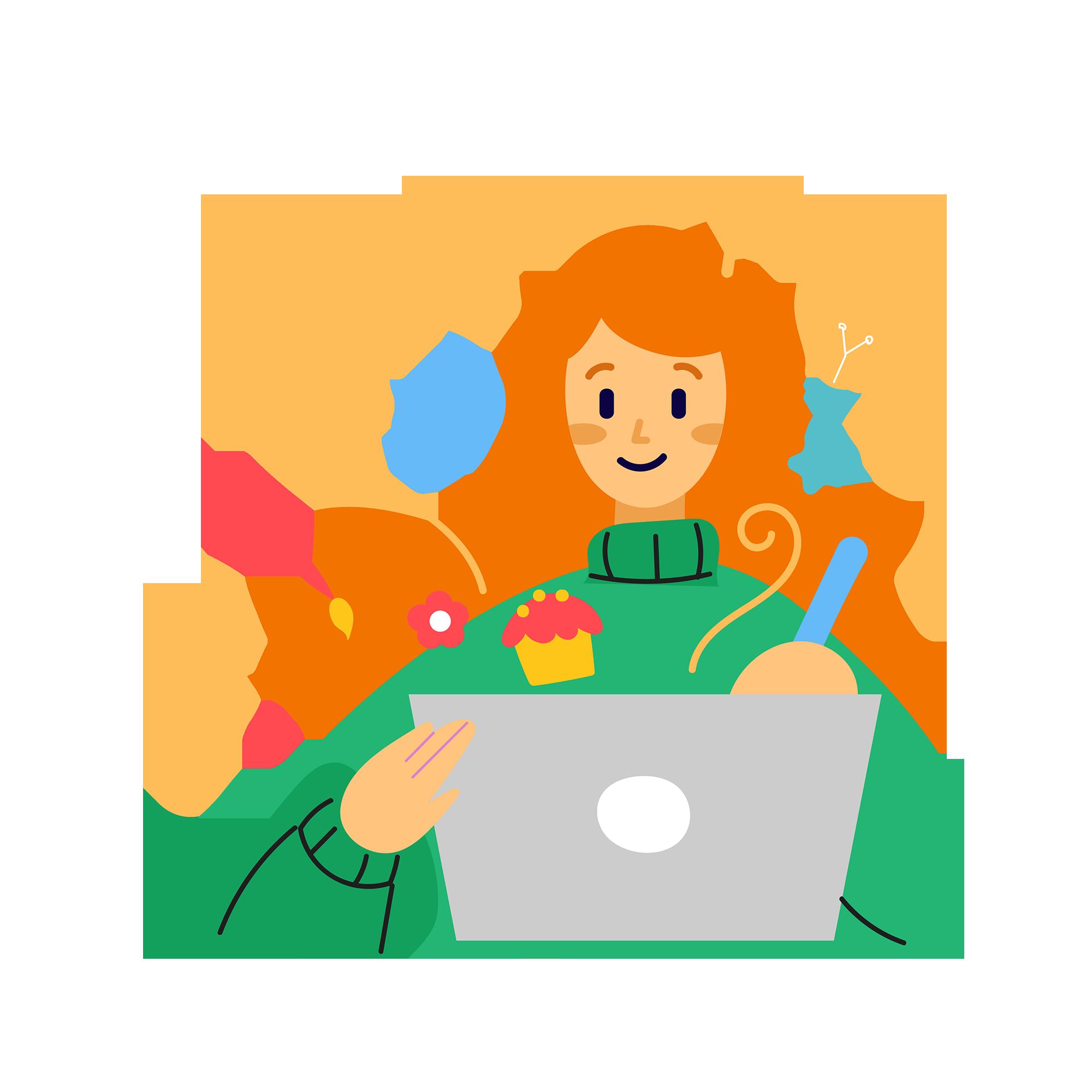 Illustration de la section Word - une femme qui fait de la mise en page