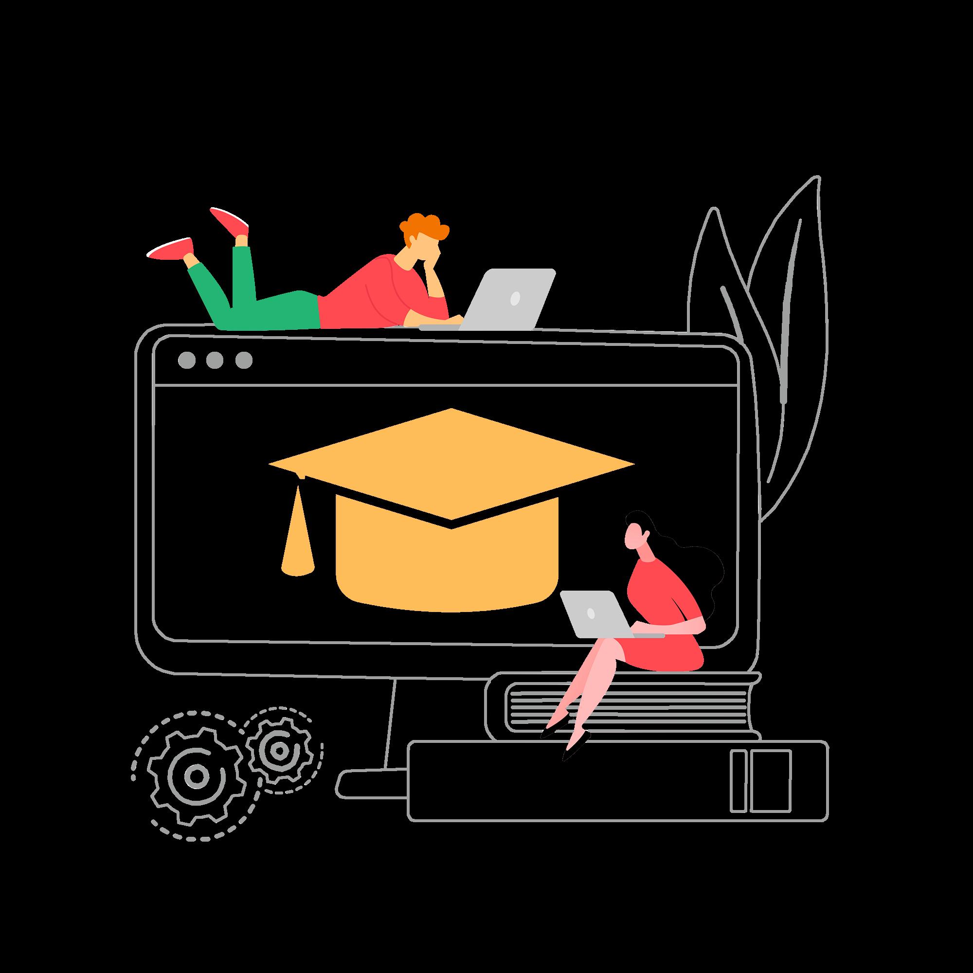 Illustration de la section e-learning - 2 personnes qui apprennent sur leur ordinateur
