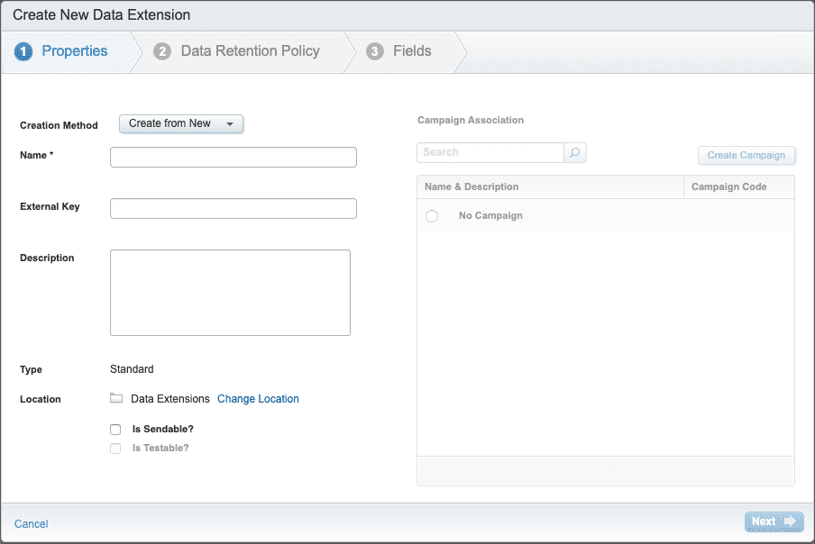 how to create data extensions in email studio part 1