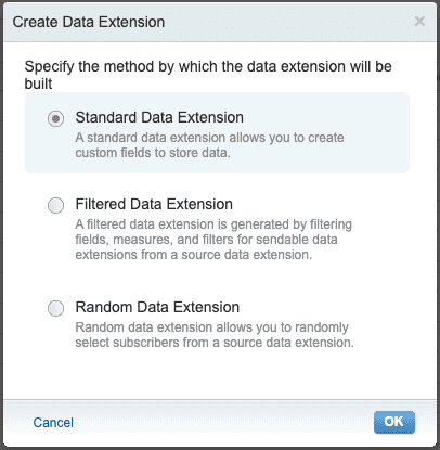 data extension types in email studio marketing cloud