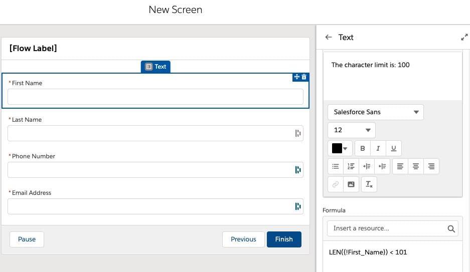 configure screen flow for using regex