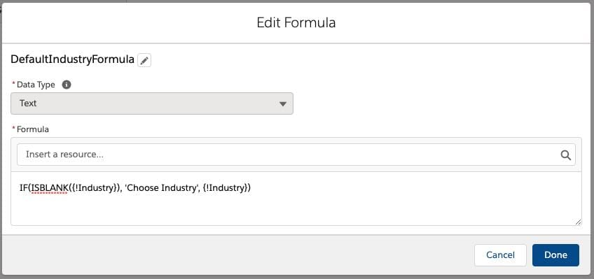 create a formula for the default picklist value