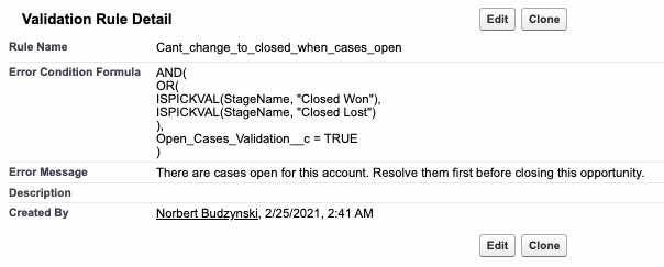 create validation rule for the new field
