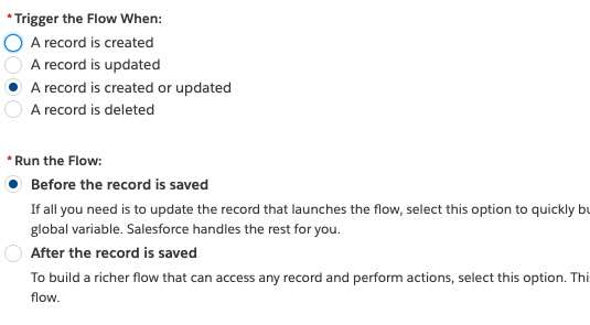 configure the flow to run before record is saved