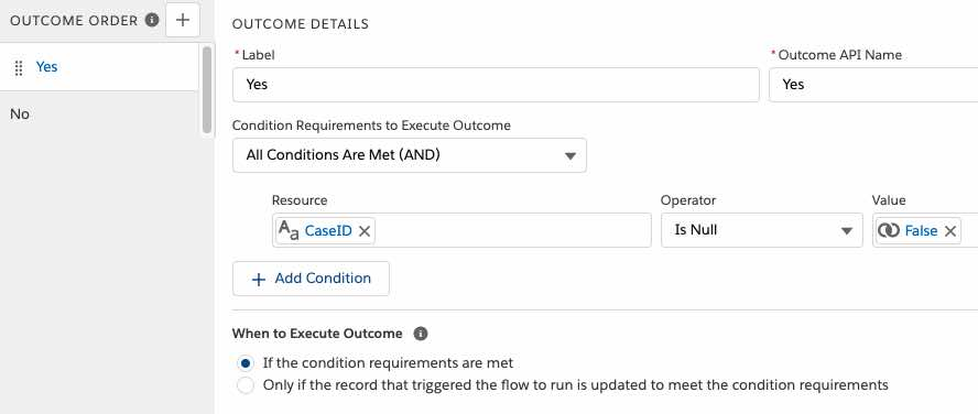 configure the decision element in the flow