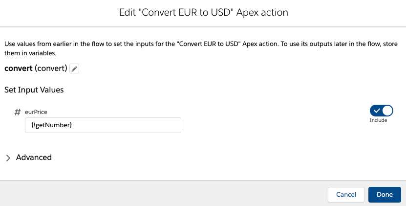 use apex action in flow