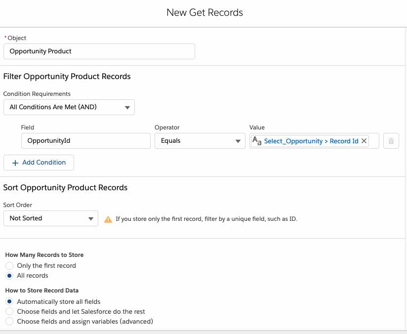 get opportunity product records