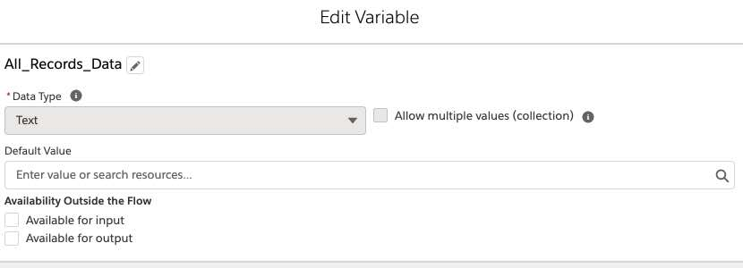 variable for final output