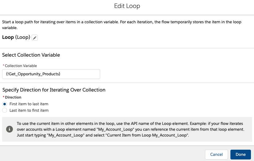 configure loop element in flow
