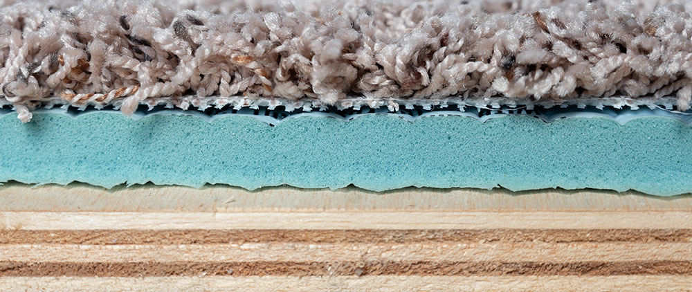 An inside view of carpet layers.
