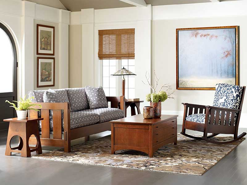 Living room with hand-crafted wood furniture
