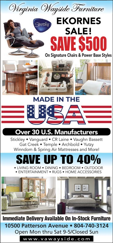 Virginia Wayside Promo - Ekornes Sale! Save $500 - Save up to 40% on other furniture